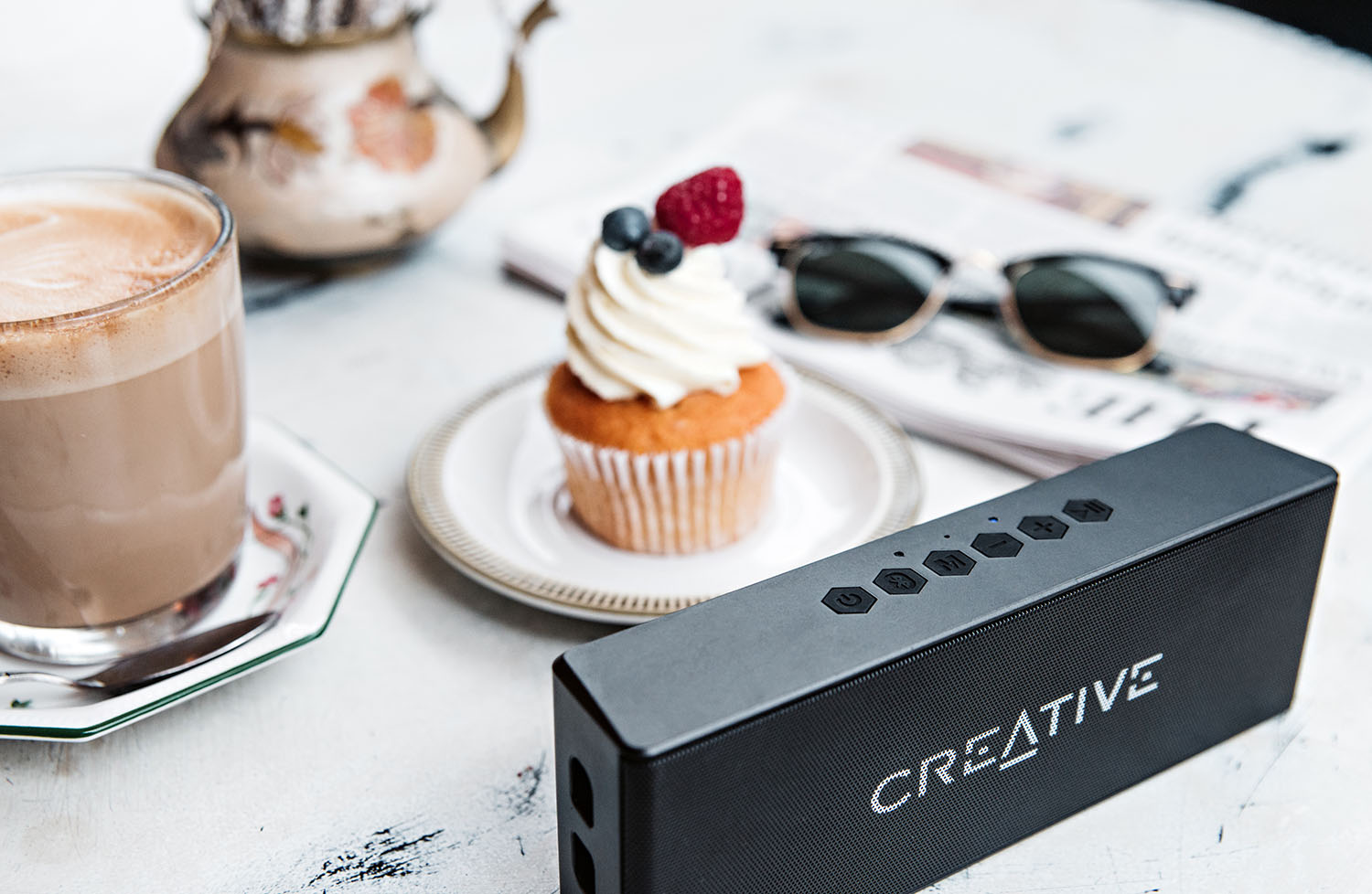 Creative MUVO 2 Bluetooth Speaker, Latte, Ray-Ban & Cupcake