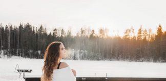 Woman after Ice Swimming at Kuusijärvi Lake in Vantaa