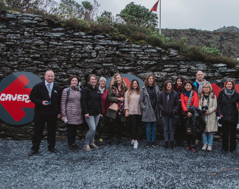 Journalists at Llechwedd Slate Caverns in Blaenau Ffestiniog, North Wales