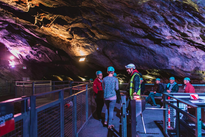 Underground trampolines - Journalists at Llechwedd Slate Caverns in Blaenau Ffestiniog, North Wales