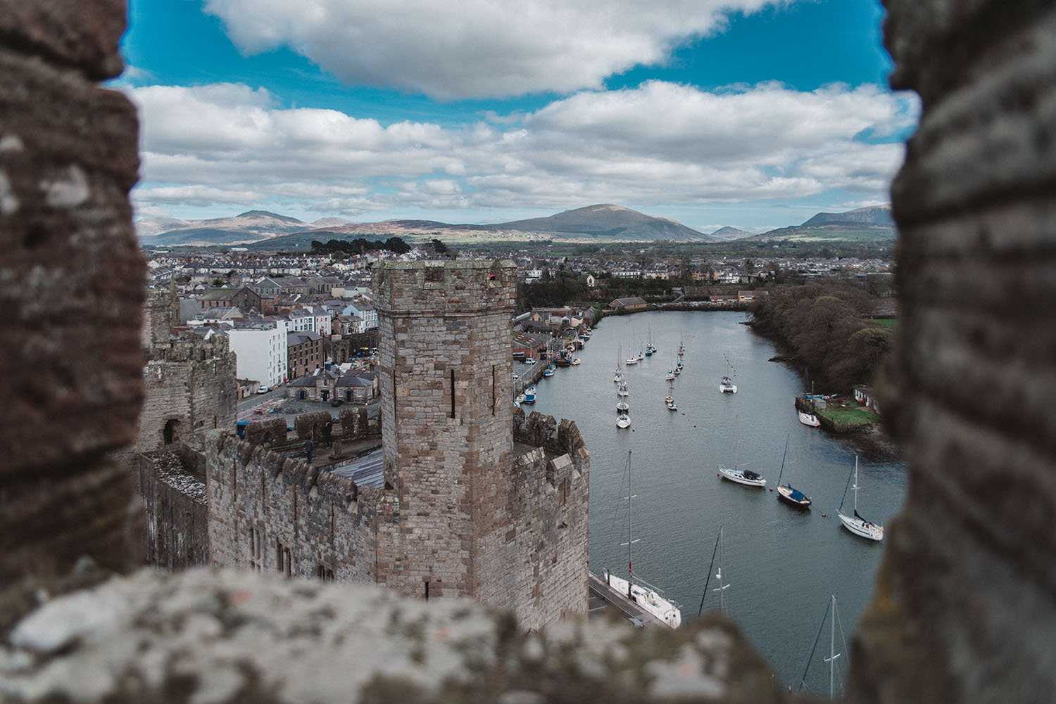 Tower view from Caernarvon Castle in Wales