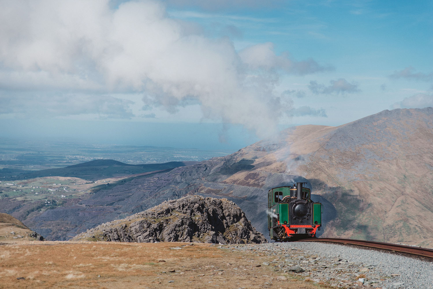 Steam train (Snowdon Mountain Railway) coming up Clogwyn, in Snowdonia National Park, Wales