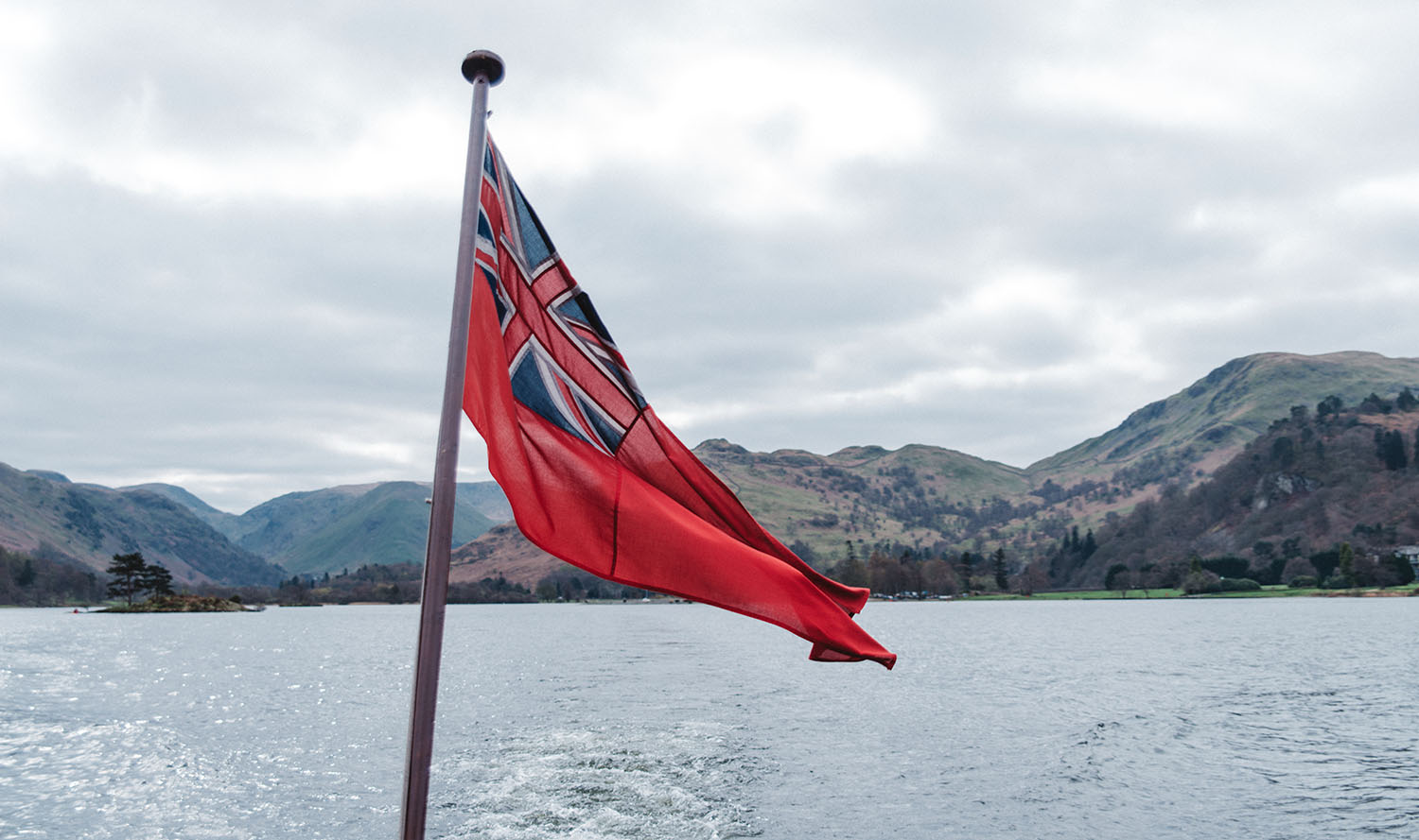 Great Britains flag waving on Lake District Tour