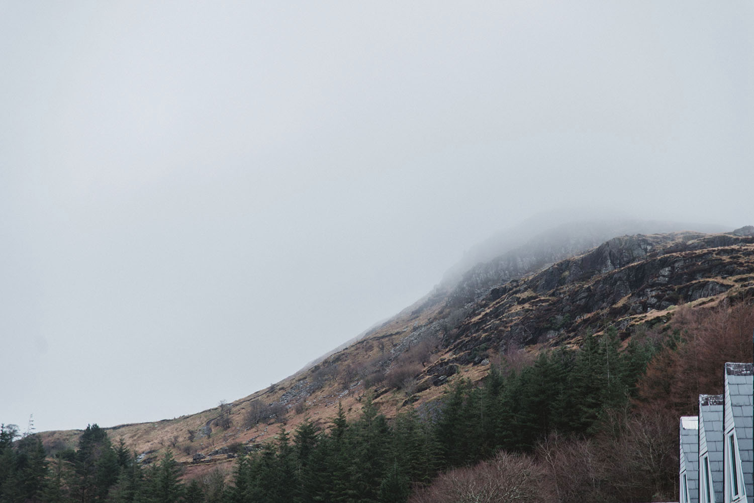 Misty mountains in Snowdonia National Park