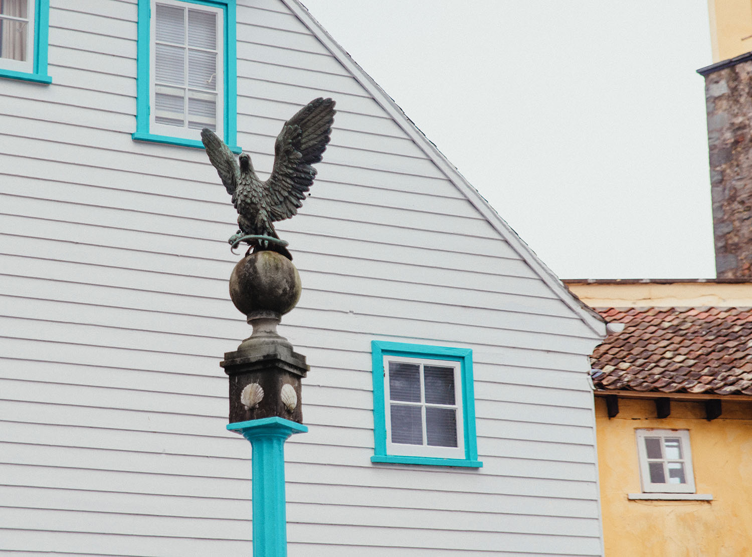 Bird Statue in the picturesque village of Portmeirion in North Wales