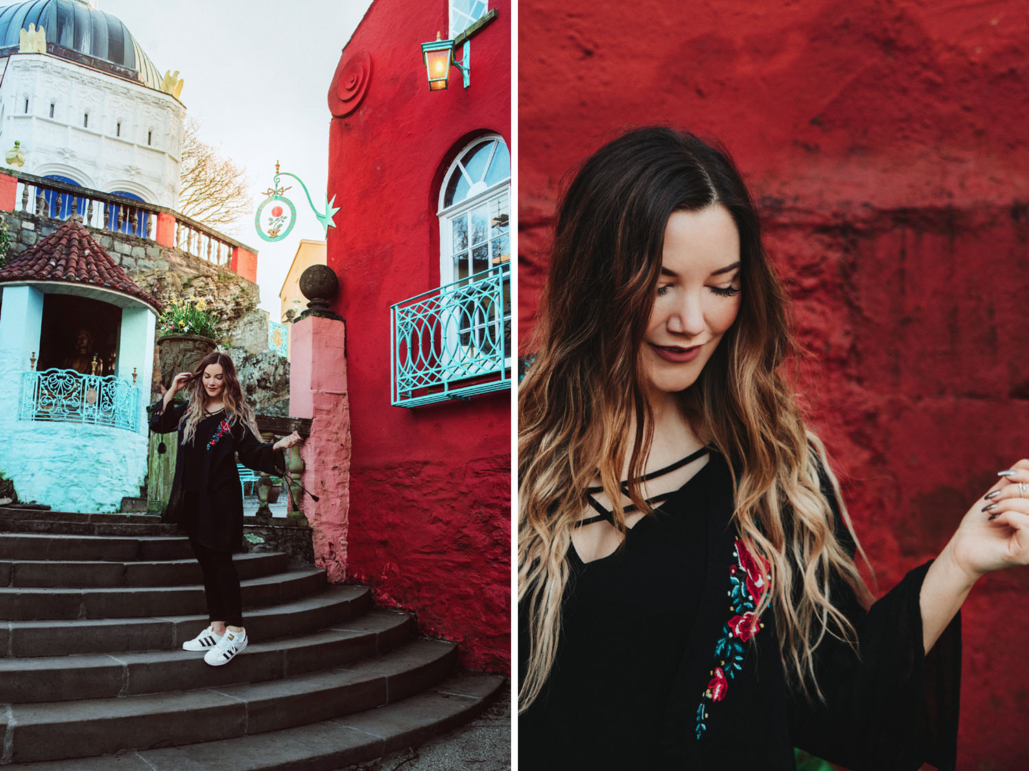 Portraits against a red building in Portmeirion