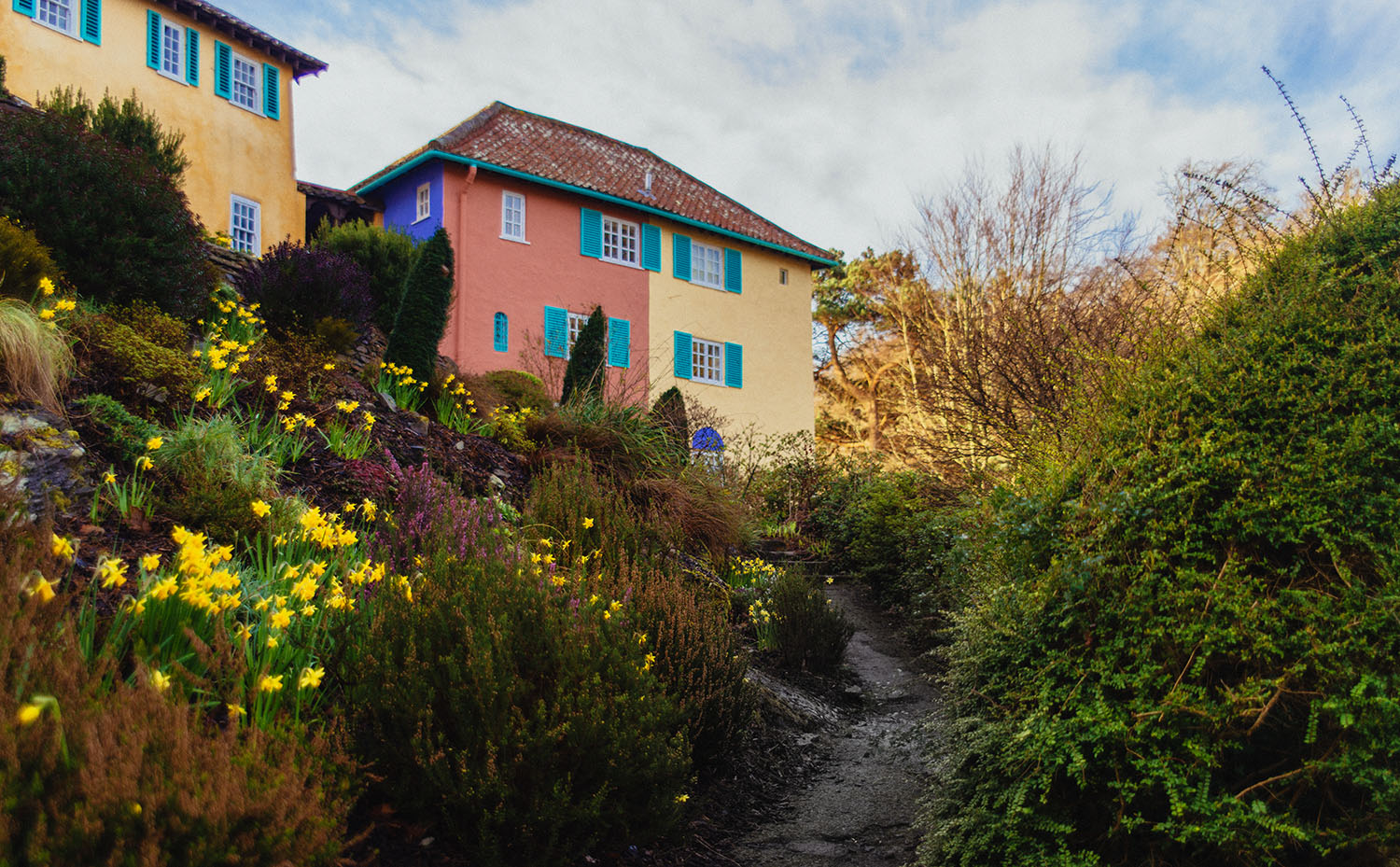 Colorful buildings in Portmeirion, Wales