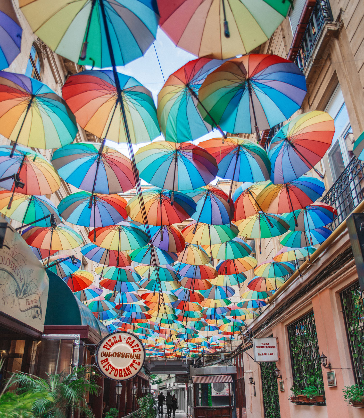 Pizza Colosseum - Coloful umbrellas in Bucharest