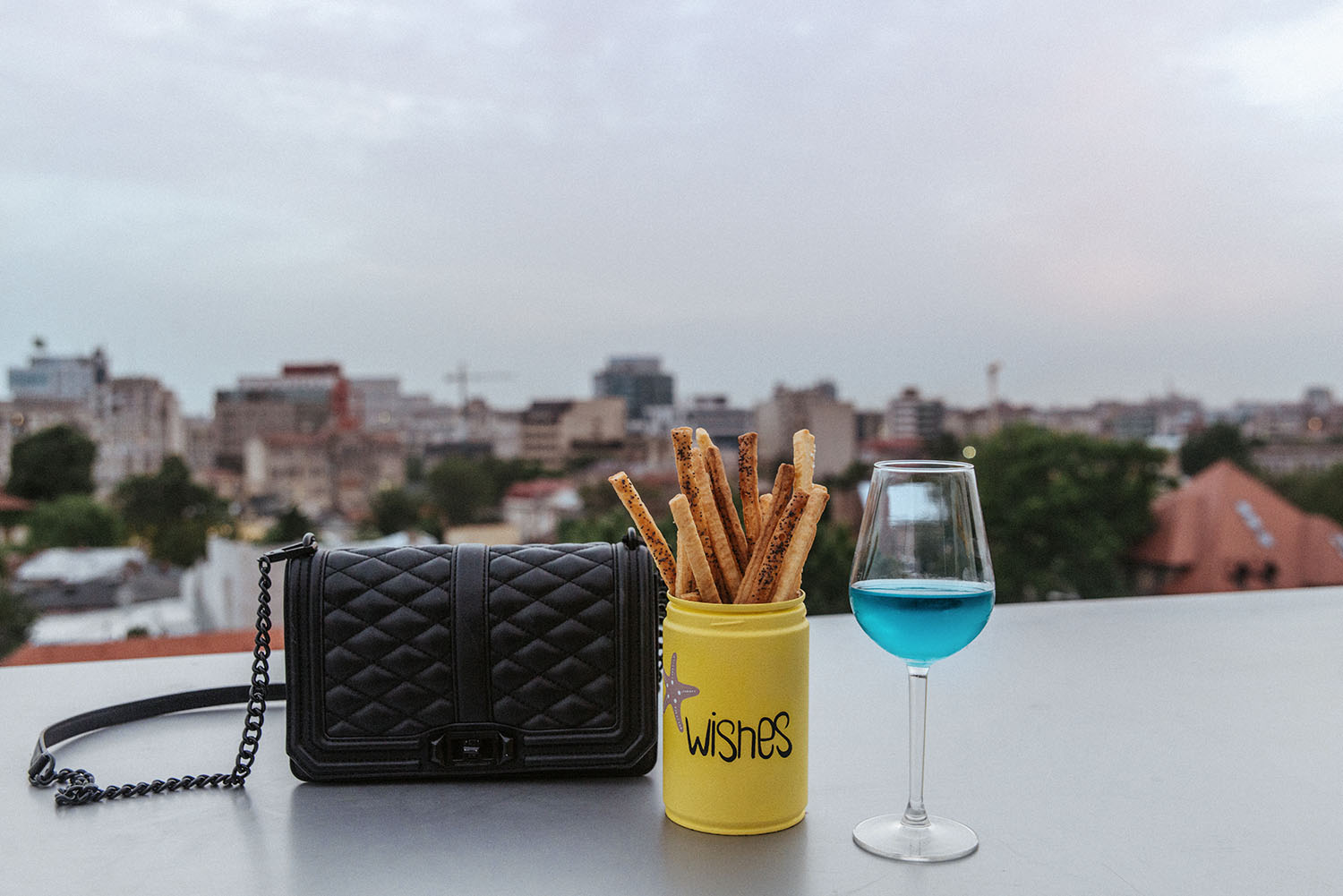 Blue wine at a rooftop in Bucharest