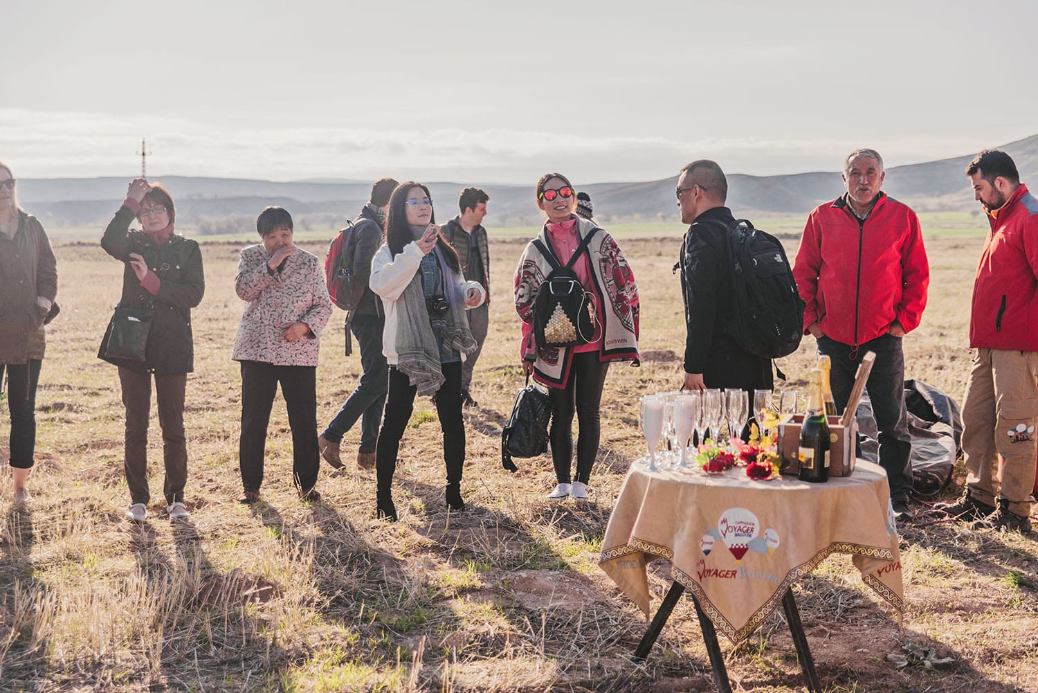 Champagne after hot air balloon tour in Cappadocia