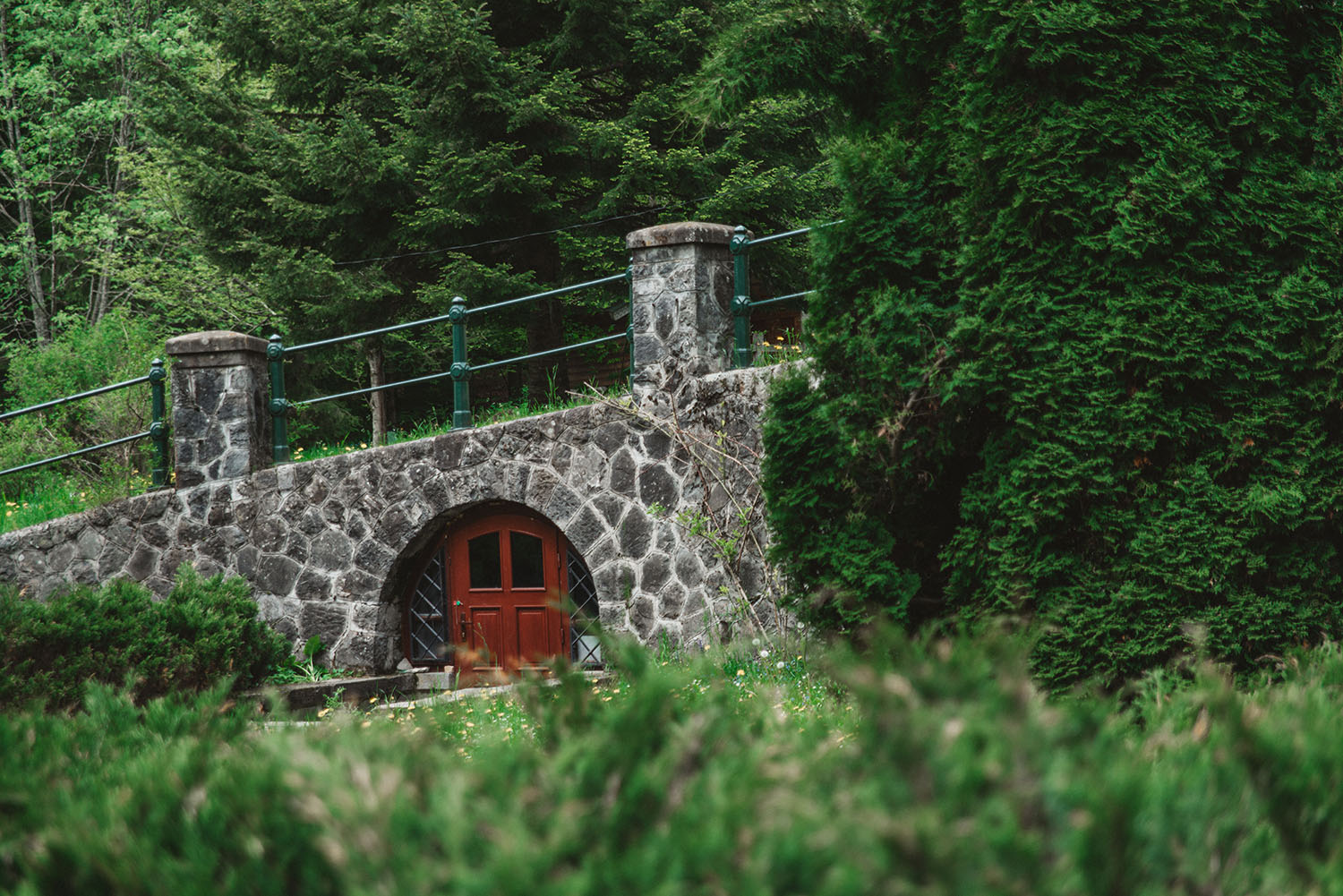 Hobbit entrance next to Pelisor Castle in Sinaia, Romania