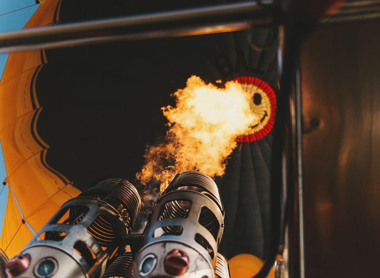 Smiley burner in hot air balloon