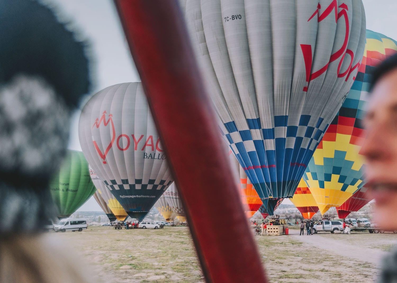 Getting ready in a hot air balloon basket