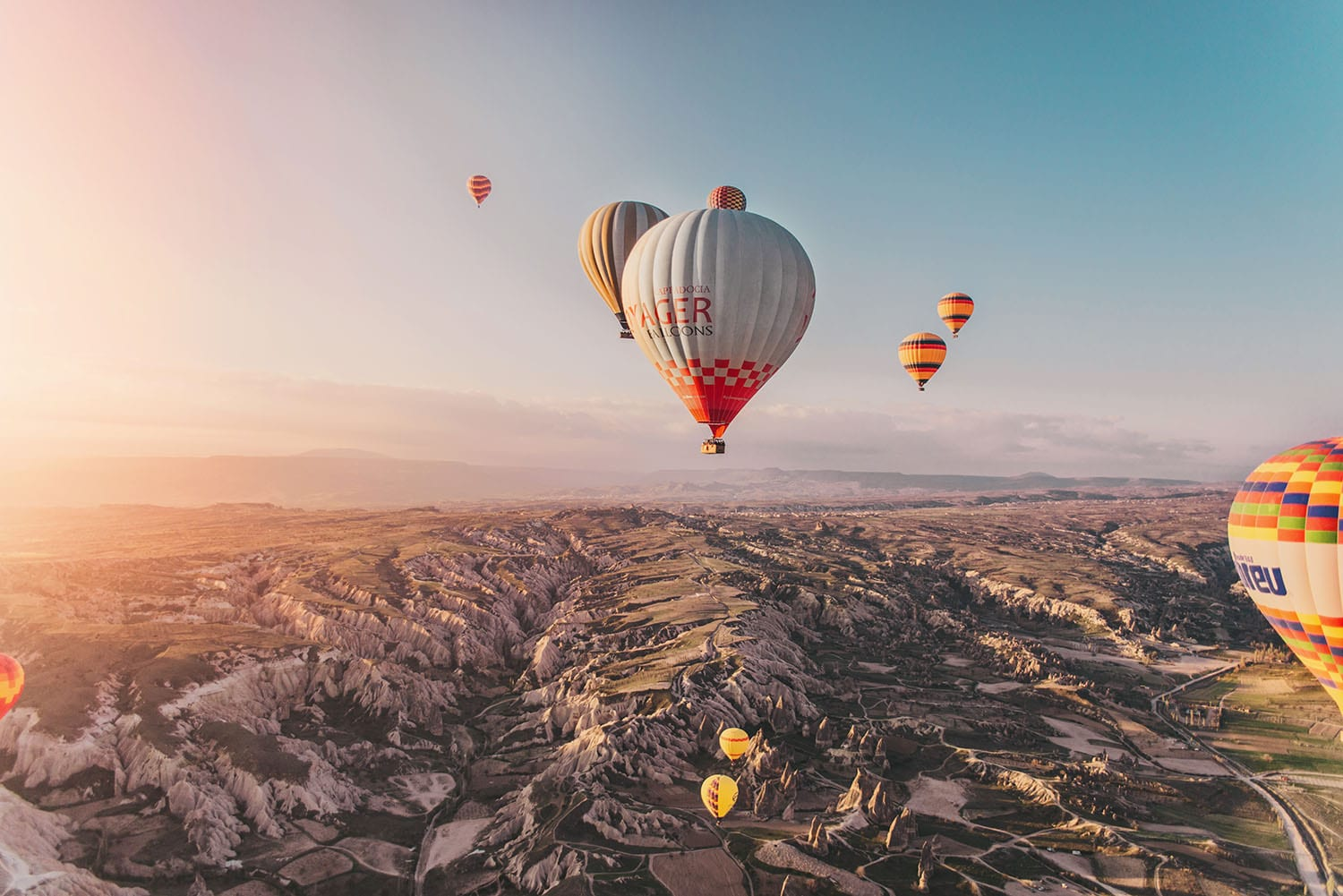 Stunning sunrise with hot air balloons in Cappadocia, Turkey