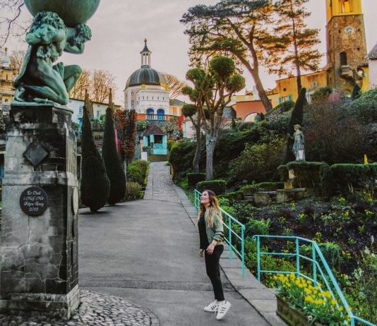 Statue of Hercules in the Italianate village of Portmeirion in Snowdonia, North Wales