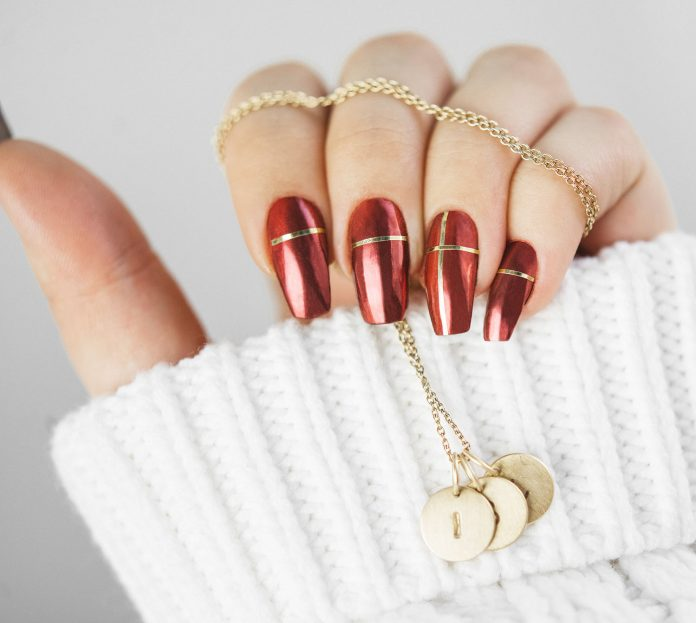Red Lachrome Christmas Nails with Gold Striping Tape