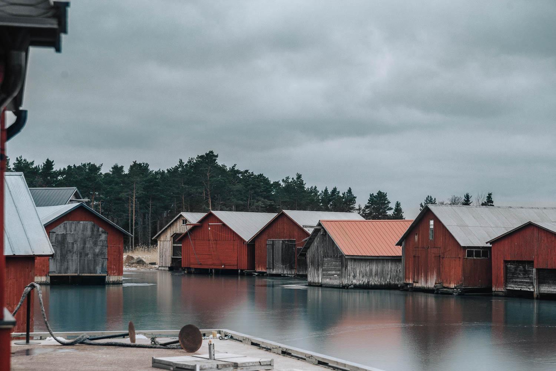 Röda bodar i Käringsund, Eckerö, Åland