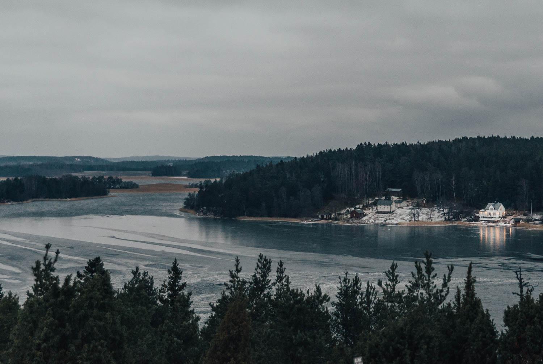 Utsikt från Café Uffe på Berget på vintern, Åland