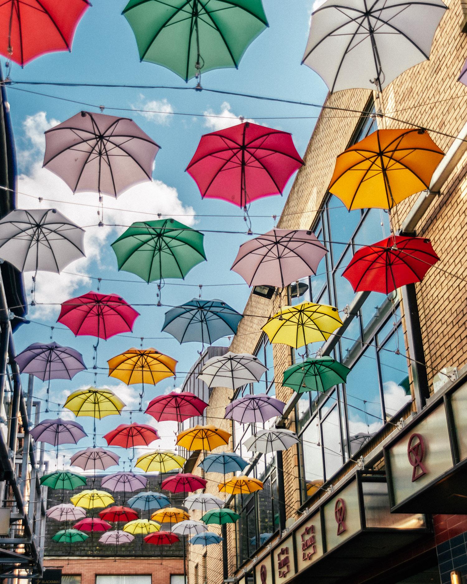 Roof of colorful umbrellas in Dublin, Ireland