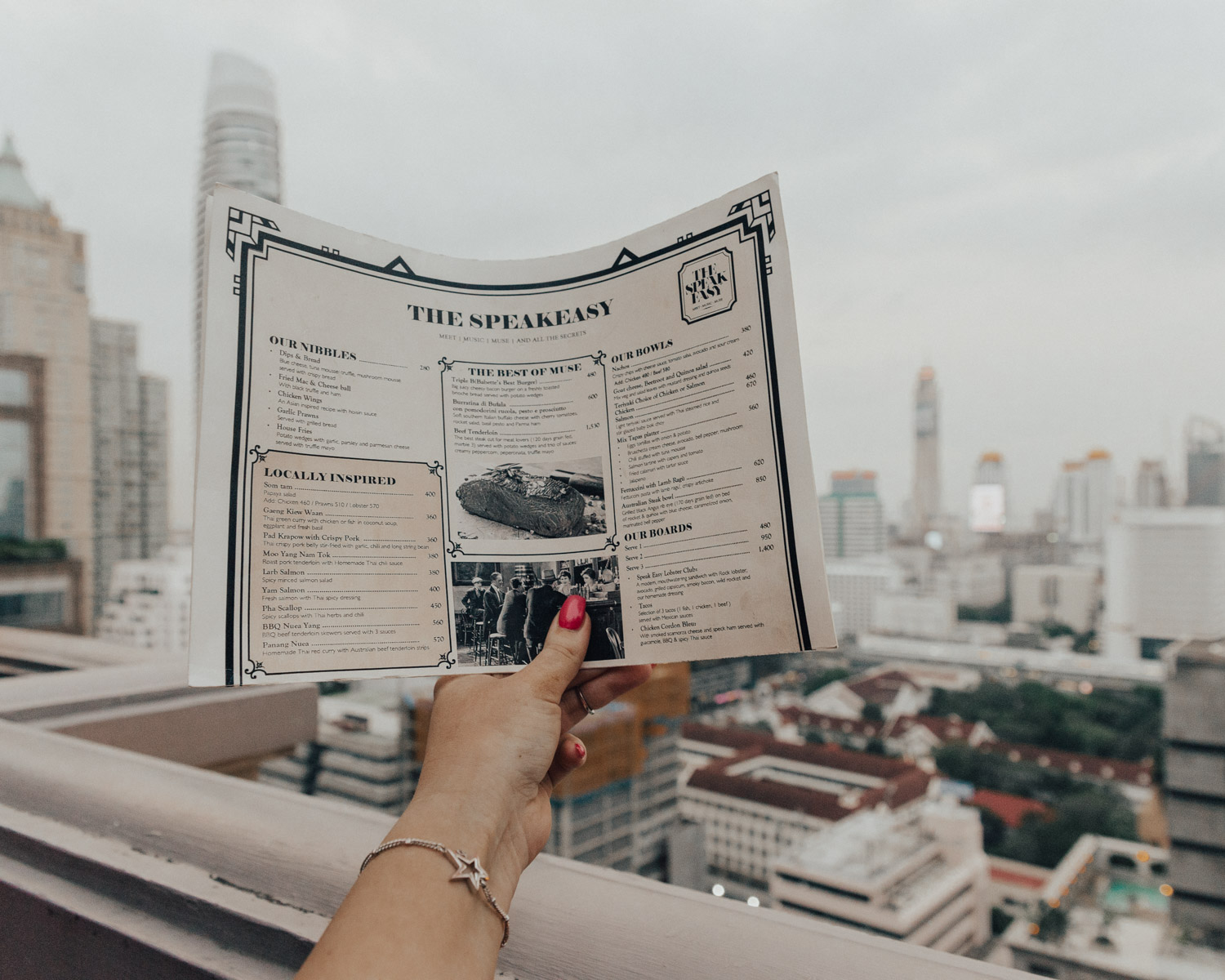 Where to Eat in Bangkok - Menu at The Speakeasy Rooftop, Hotel Muse