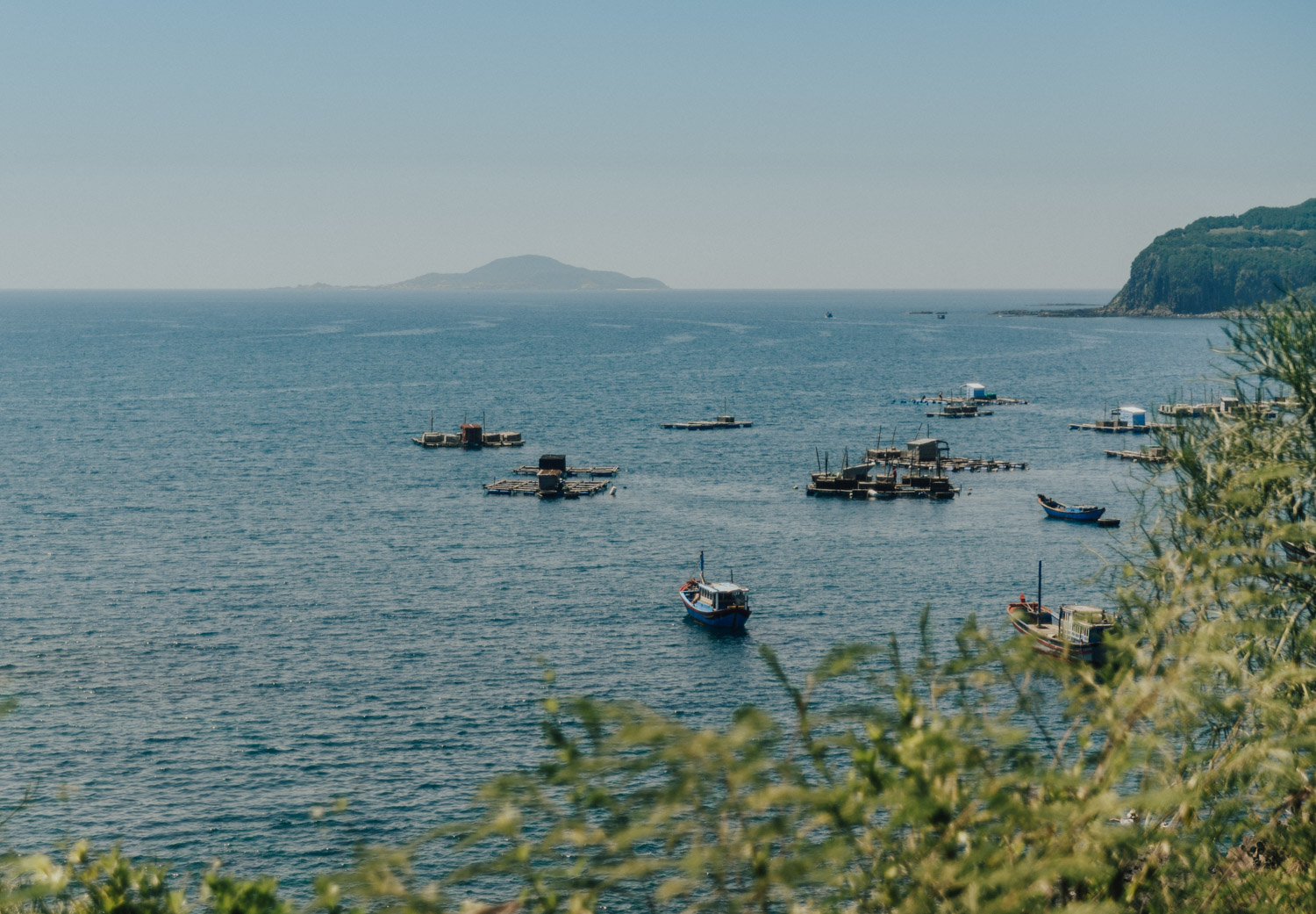 Vietnamese Boats seen from Ganh Da Dia Reef in Phu Yen