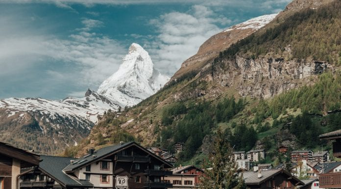 The Matterhorn over the Zermatt Village