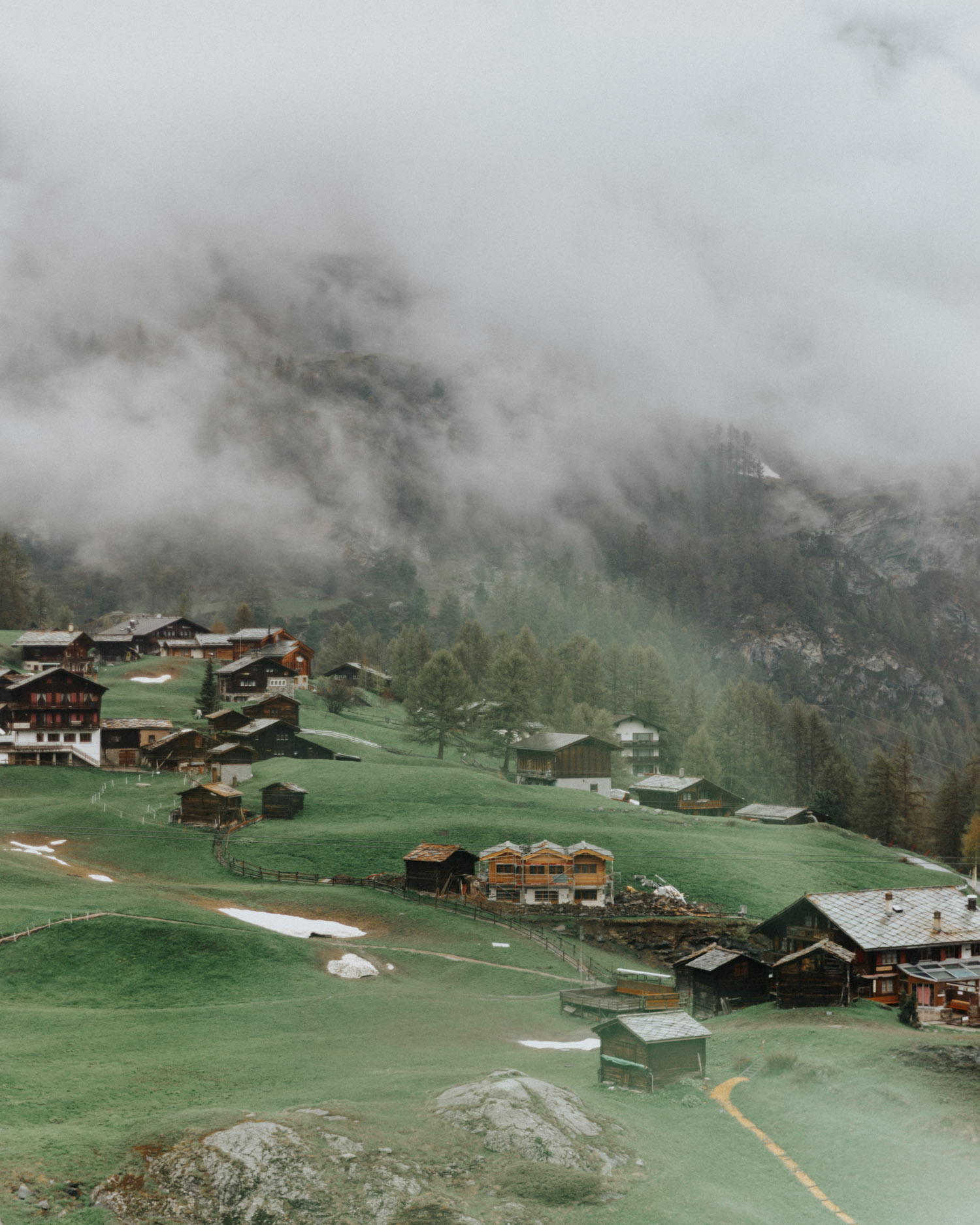 Zermatt Village in the clouds