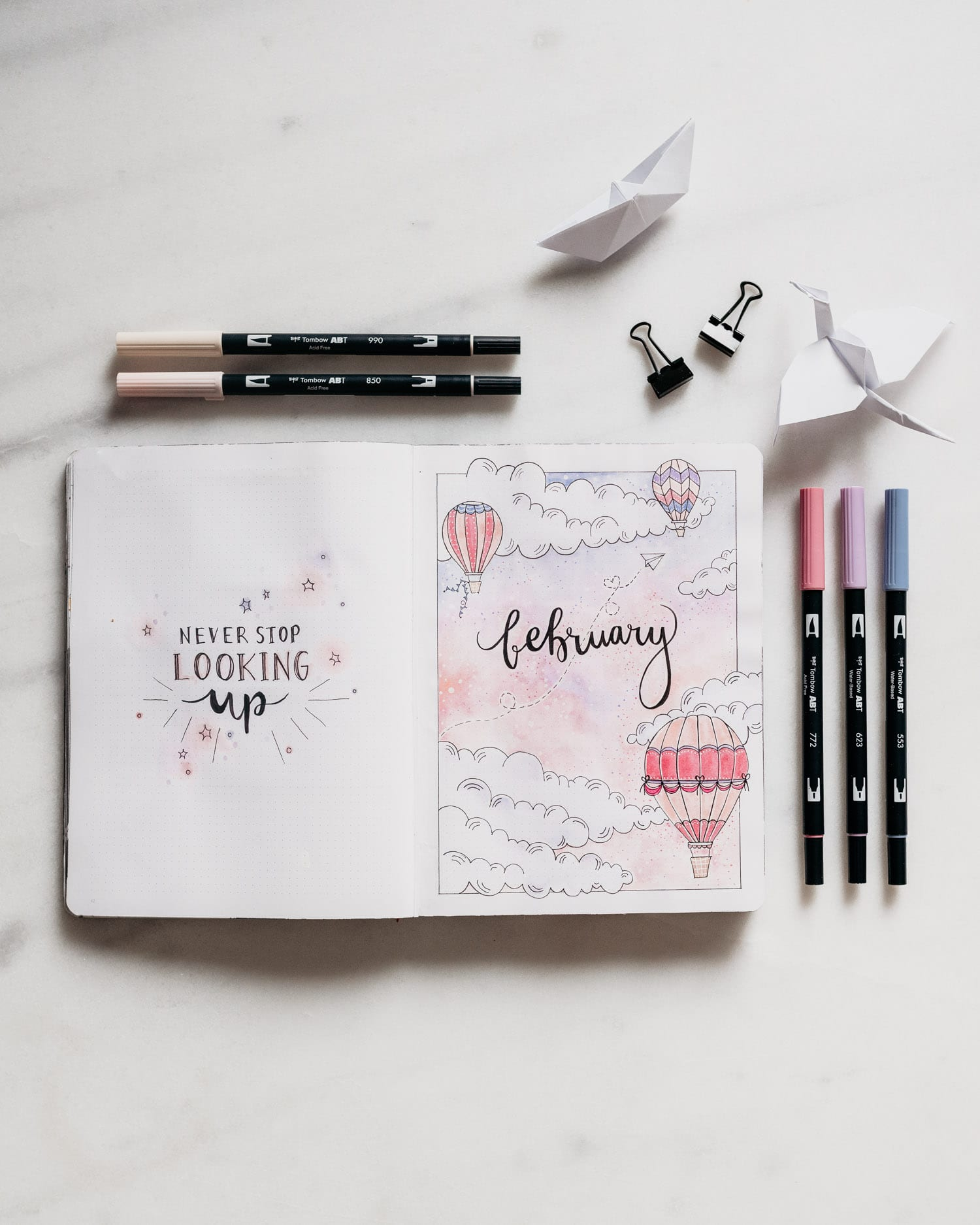 Bullet Journal February: Hot Air Balloon Theme Idea
