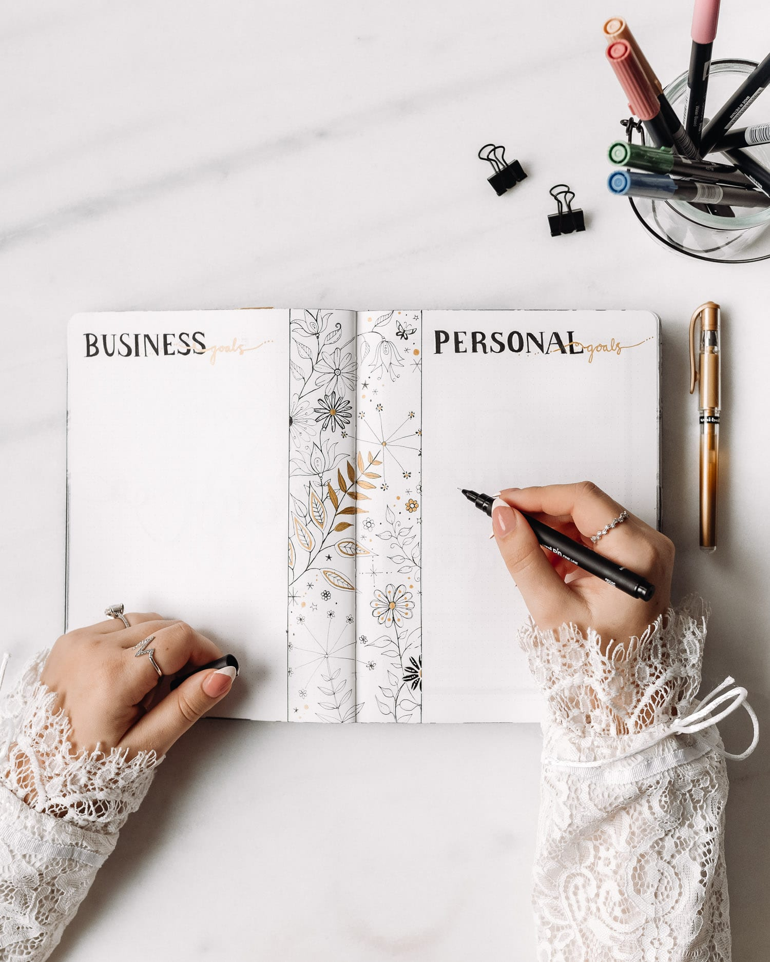 Bullet Journal Business Goals and Personal Goals - Page Idea