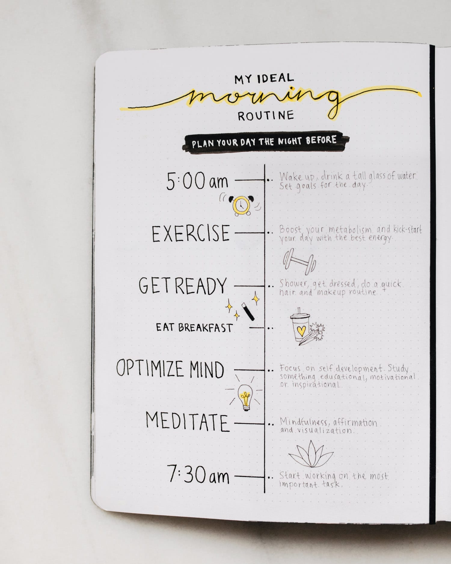 Bullet Journal - My Ideal Morning Routine