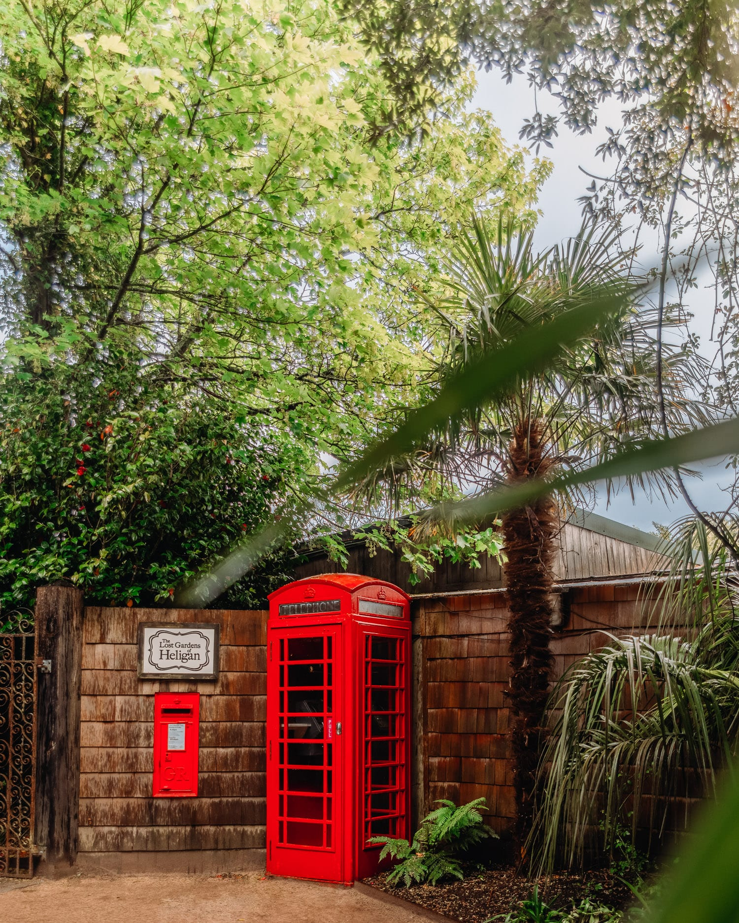 Red Telephone Booth in the Lost Gardens of Heligan, Cornwall