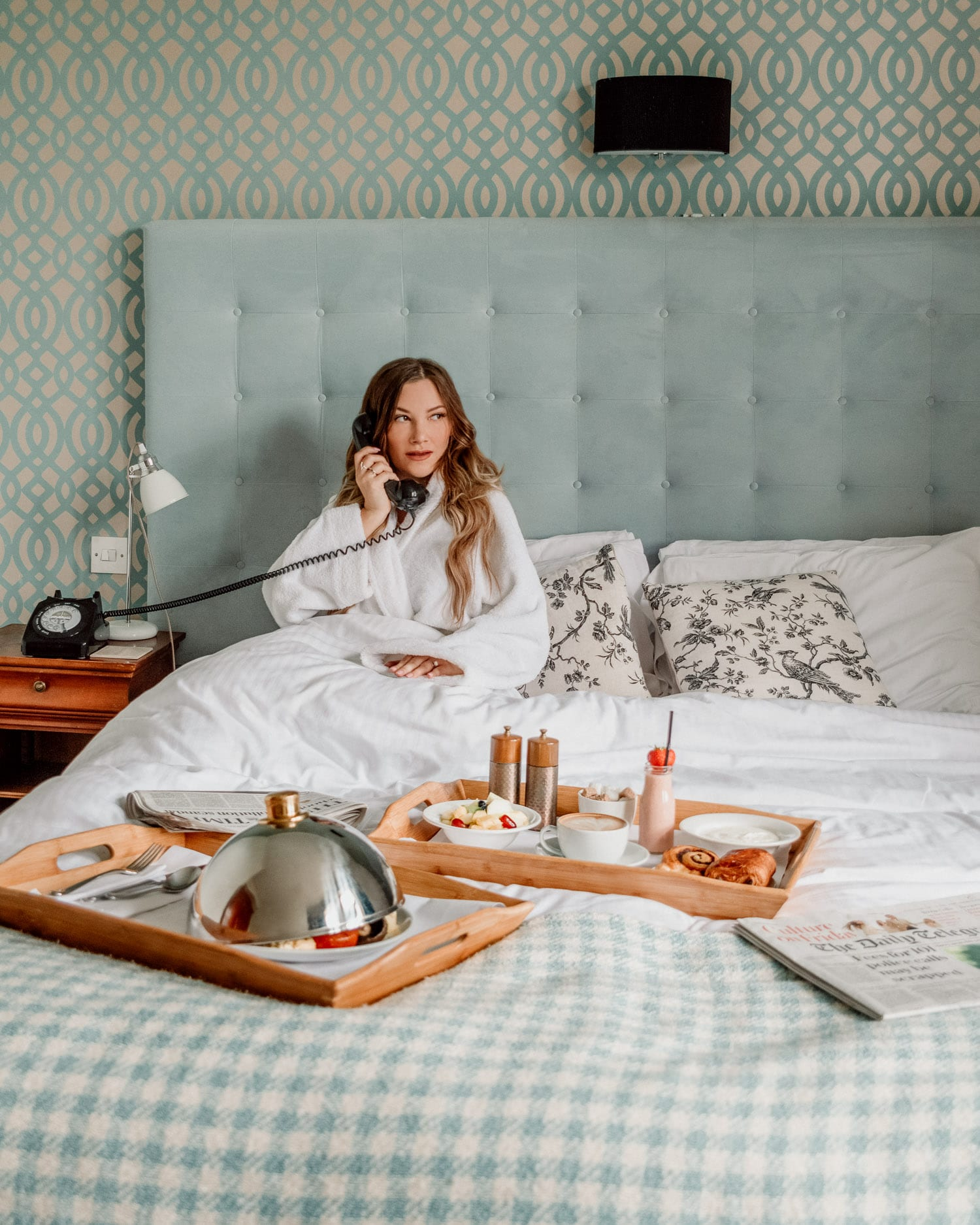 Breakfast in bed at The Alverton Hotel, Cornwall, Truro, UK