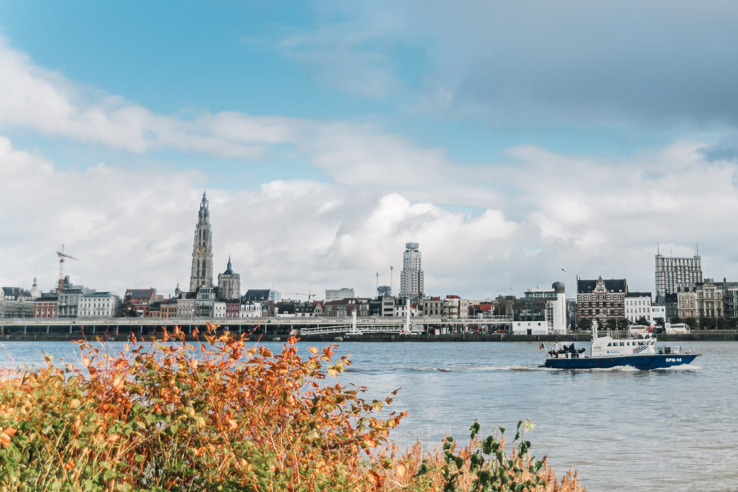 View of Antwerp from across the river Scheldt, Belgium