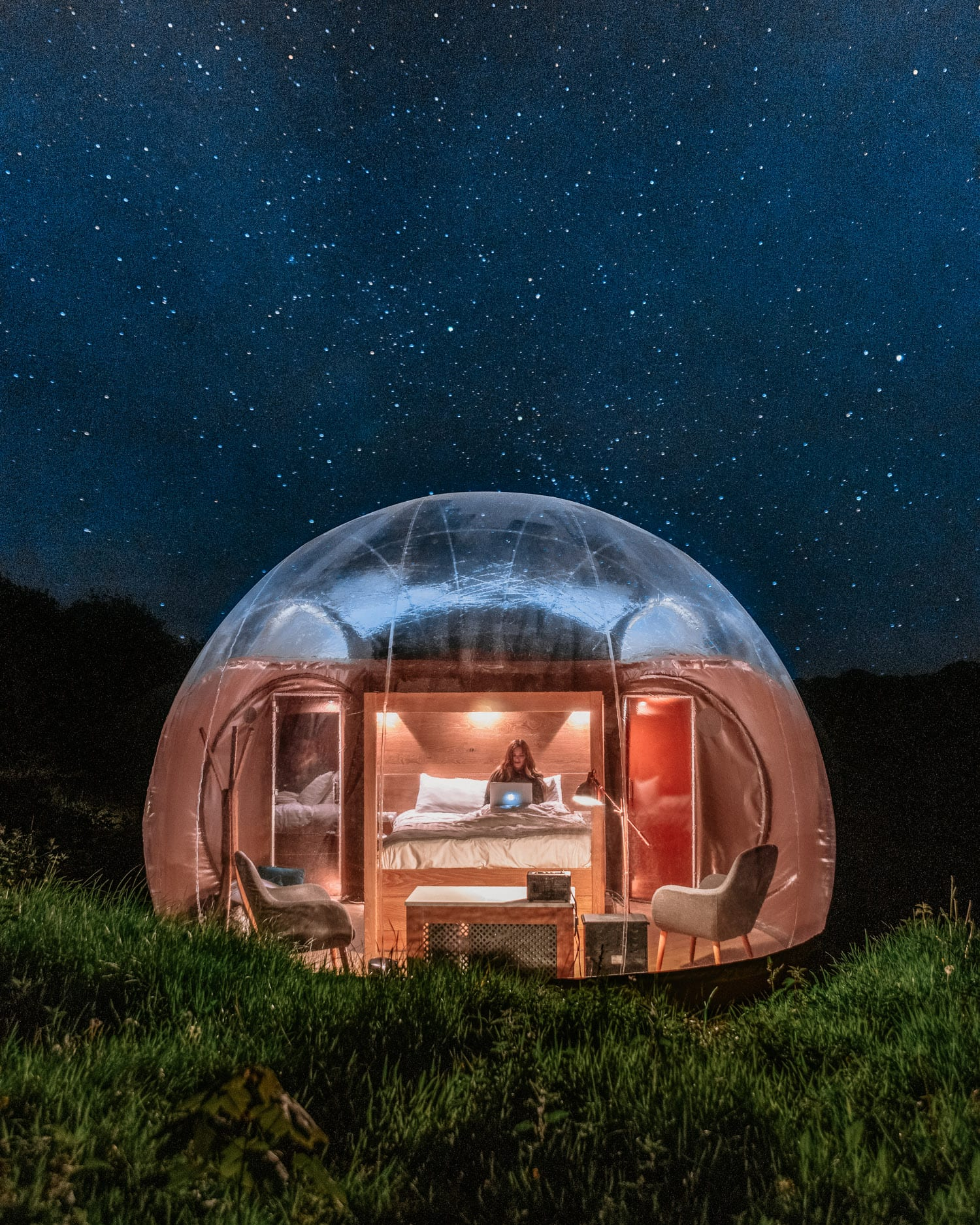 Stargazing in Bubble Dome in Finn Lough Resort, Northern Ireland