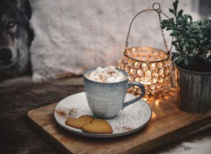 A cup of Hot Chocolate with cream and mini marshmallows   Varm choklad