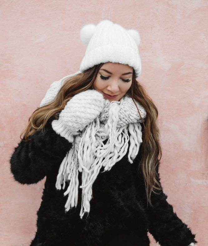 Dressing for winter - in cute beanie with ears