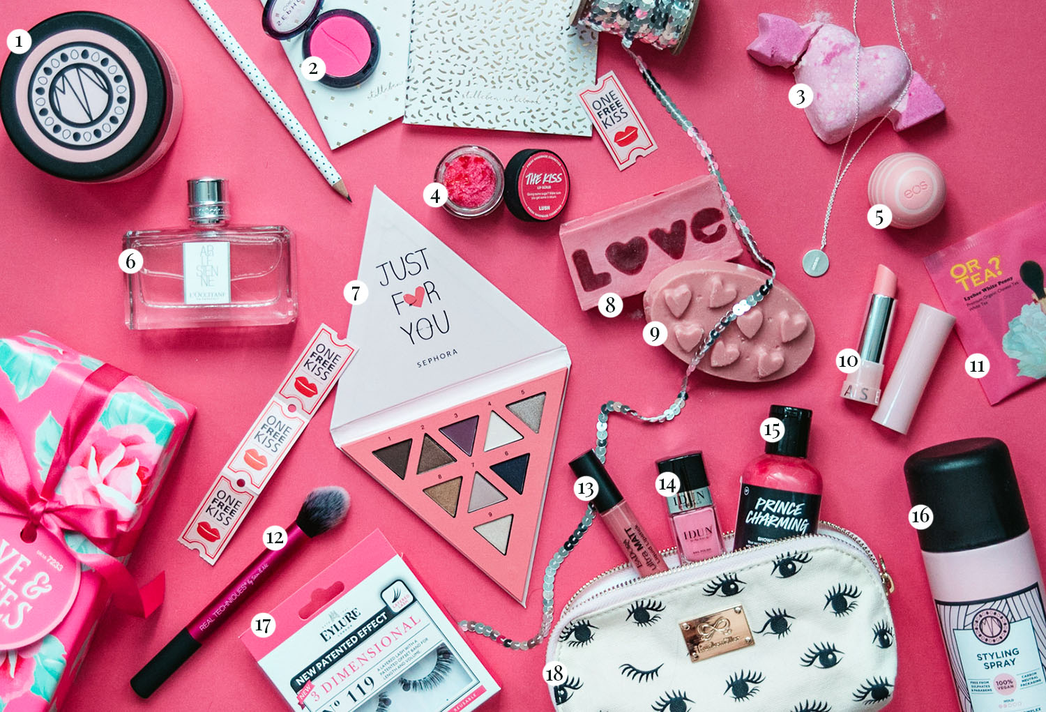 Flatlay with Pink Products to Treat Yourself on Valentine's Day / Alla hjärtans dag-presenter