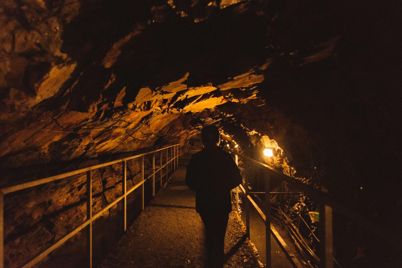 Walking through mine tunnel - Llechwedd Slate Caverns in Blaenau Ffestiniog, North Wales
