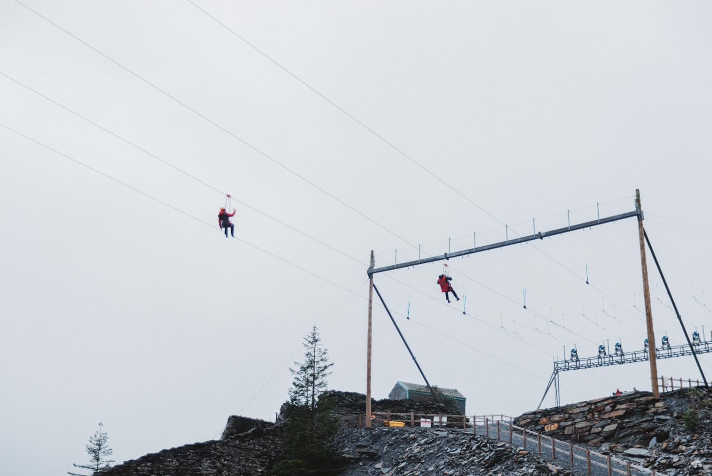 Ziplining at Zip World in Wales