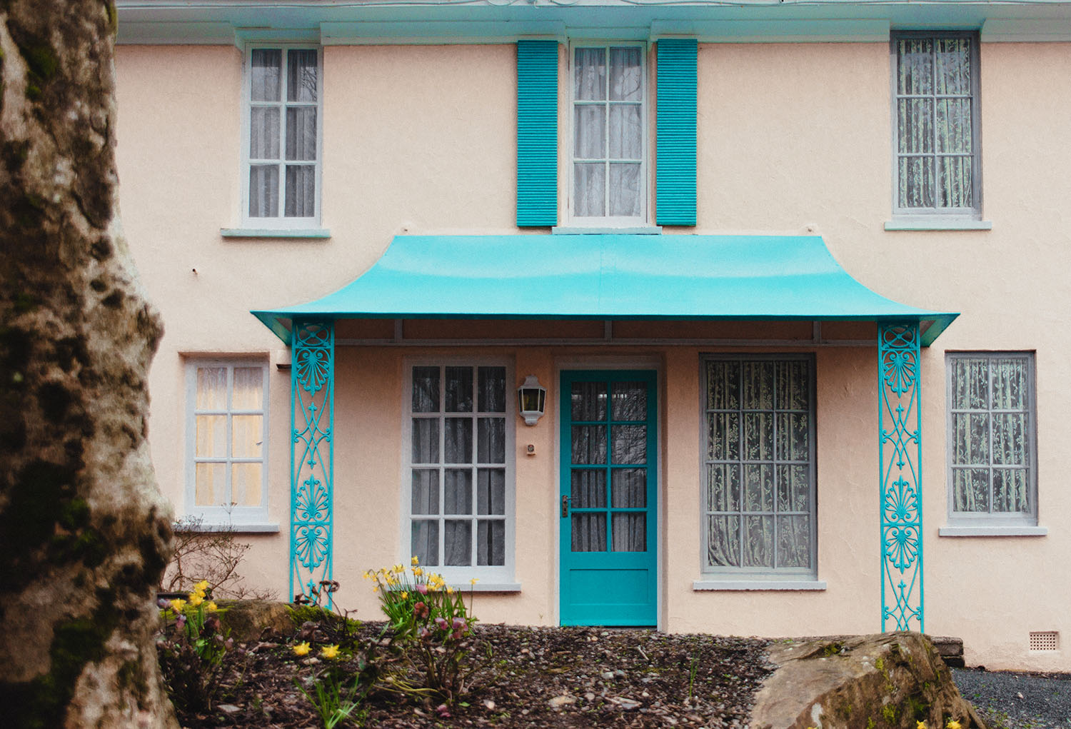 The Cliff House with Trompe-l'œil windows in Portmeirion, North Wales