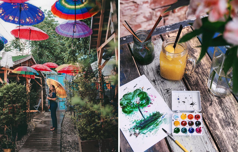Acuarela Bistro in Bucharest - Umbrellas & Watercolor