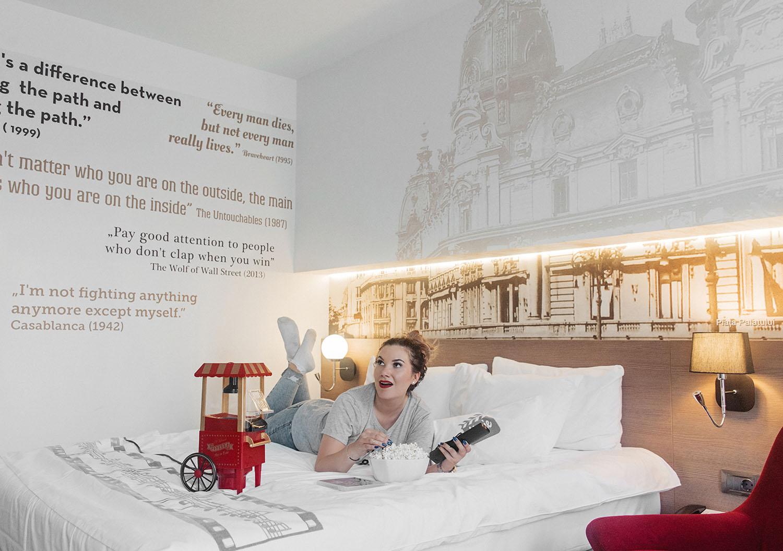 Mercure Hotel Movie Room with popcorn machine in Bucharest
