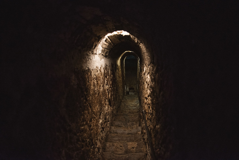 Dark tunnel inside Bran Castle in Transylvania