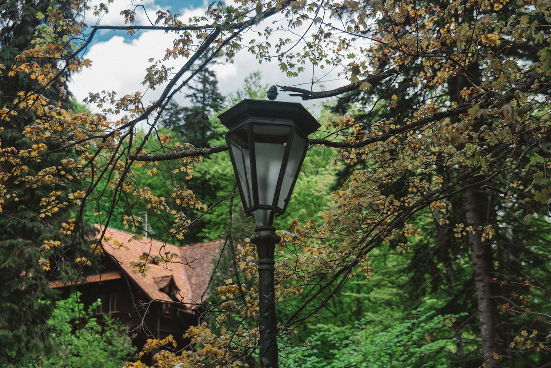Close up of magical lamp at Peleş Castle in Romania