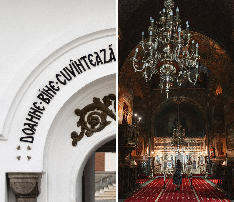 Decorative details in Sinaia Monastery in Romania