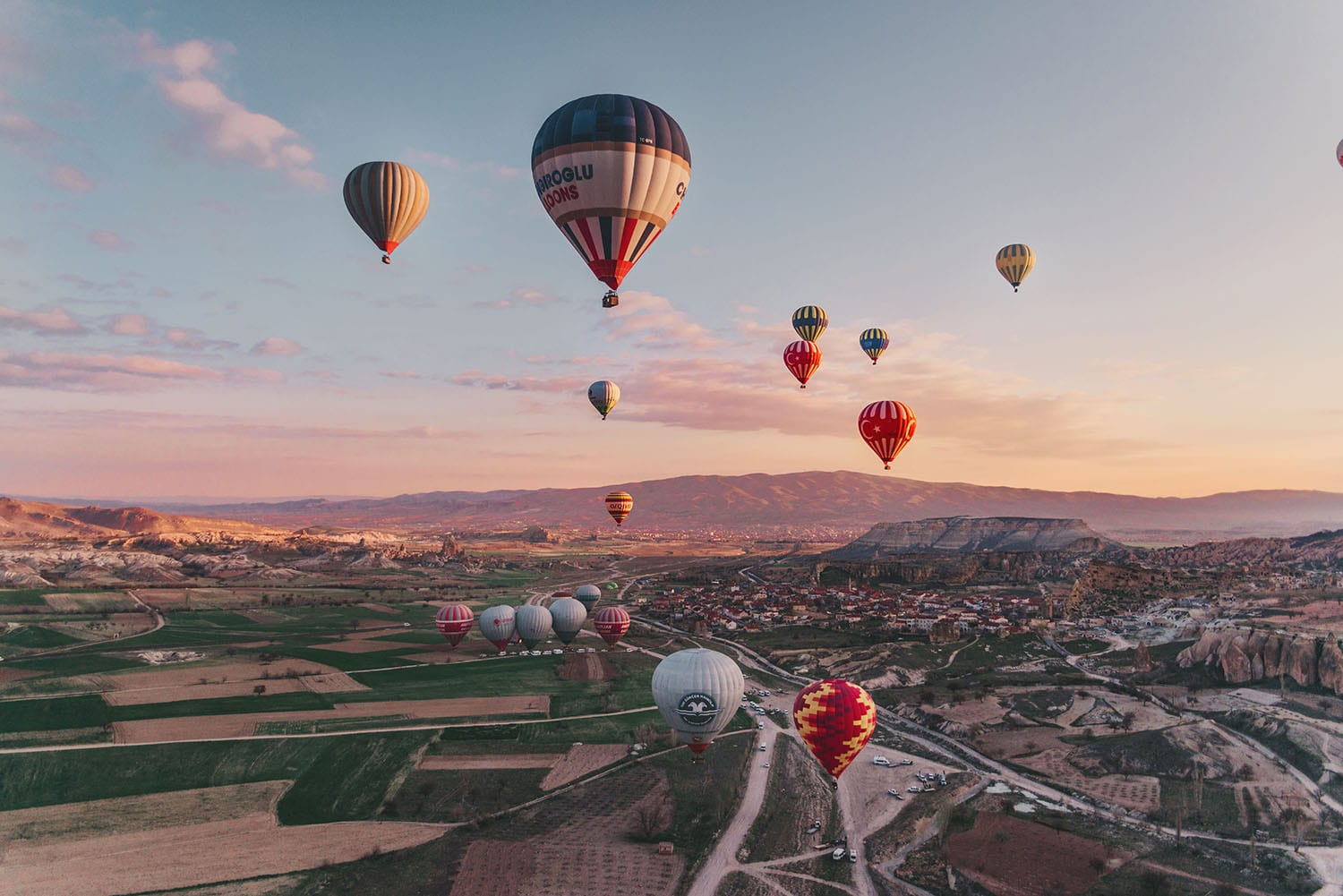 Hot air balloons in magical sunrise in Cappadocia, Turkey