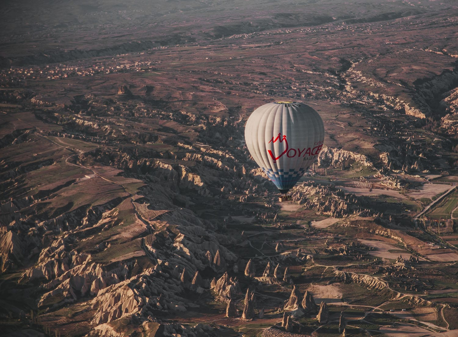 Close up of single hot air balloon in Cappadocia, Turkey