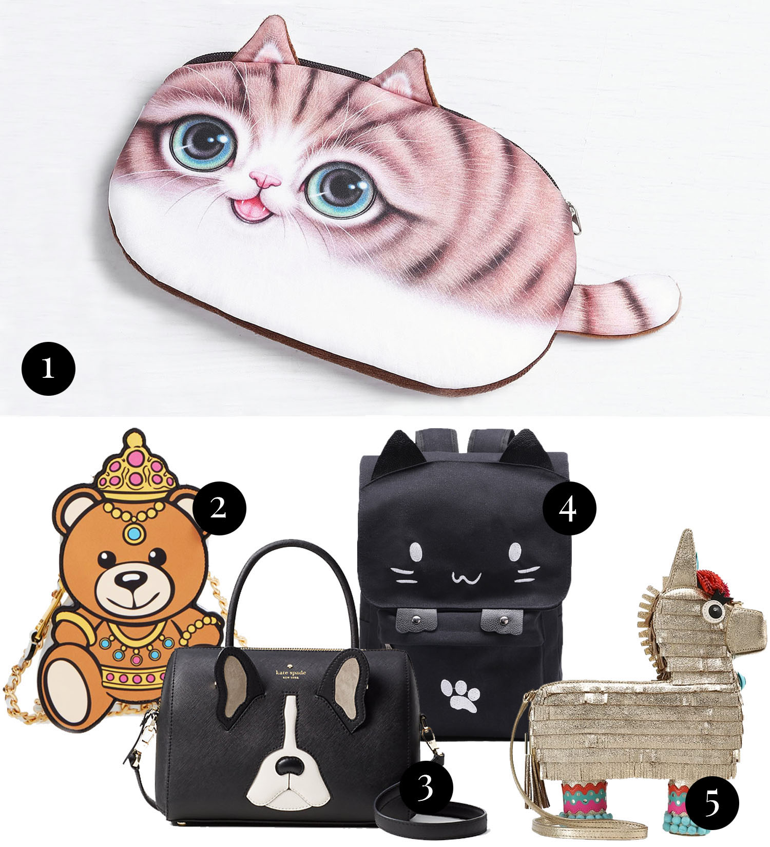 Collage with cute animal statement bags