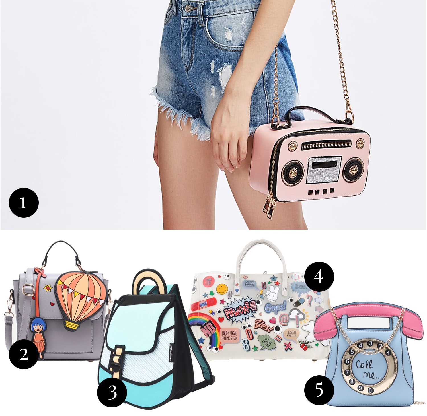 Collage with cool cartoon statement bags
