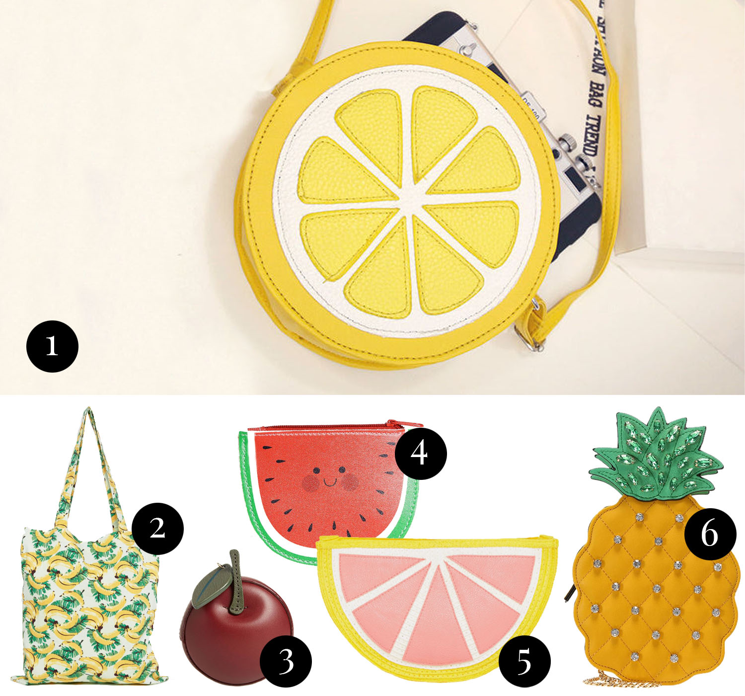 Collage with fruit shaped statement bags